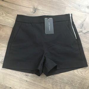 Zara NWT Black Zipper Detailed Black Dress Shorts